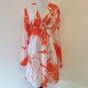 Echo Swim Coverup Size Large V Neck floral